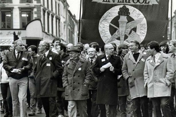 Left to Right Tony Mulhearn, Tony Benn, Eddie Loyden, Hugh Dalton, Eric Heffer and Derek Hatton in November 1983