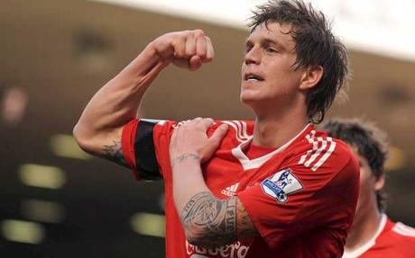 Agger dediactes a goal against Blackburn to the 96