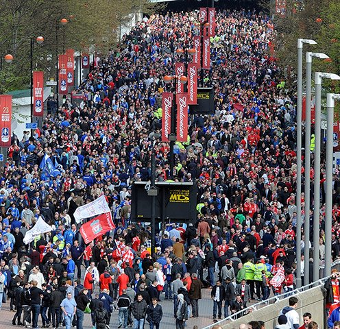 Reds and Blues mingle in their thousands at Wembley - No hint of trouble