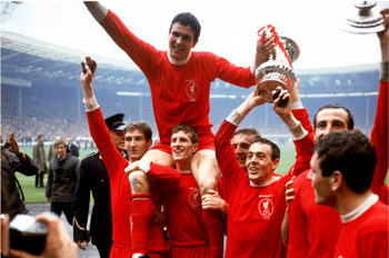 The Reds celebrate their first FA Cup on the pitch at Wembley 1965