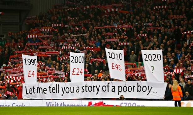 Ticket pricing protest on The Kop