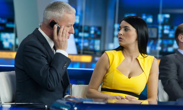 Jim White and Natalie Sawyer at the Sky Sports TV studio for the transfer Deadline Day show. © Michael Schofield.